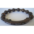 Bracelet Rosary Old Palmwood 10mm with Bar Name